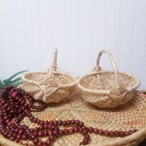 Set of 2 Small Boho Wicker Handle Storage Basket